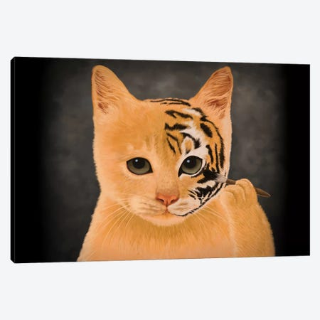 Tiger Canvas Print #TUM59} by Tummeow Canvas Artwork