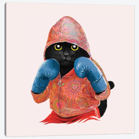 Boxing Cat II Canvas Print #TUM6} by Tummeow Canvas Art