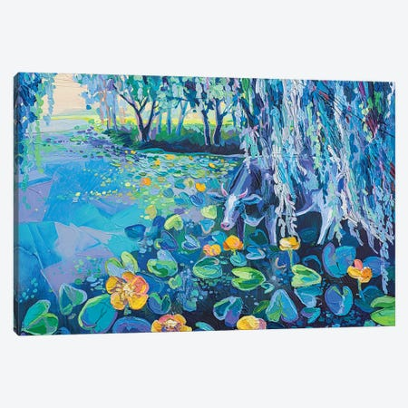 cow and water lilies Canvas Print #TVA67} by Anastasia Trusova Canvas Artwork