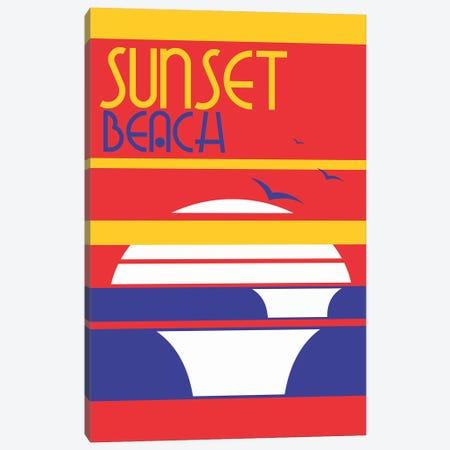 Sunset Beach Canvas Print #TVE45} by Tom Veiga Canvas Artwork