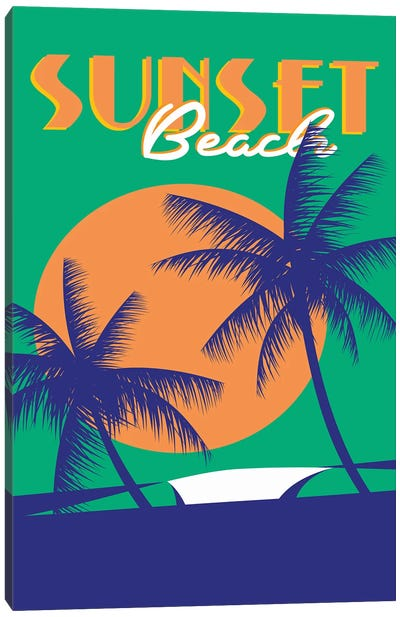 Sunset Beach Day Canvas Art Print