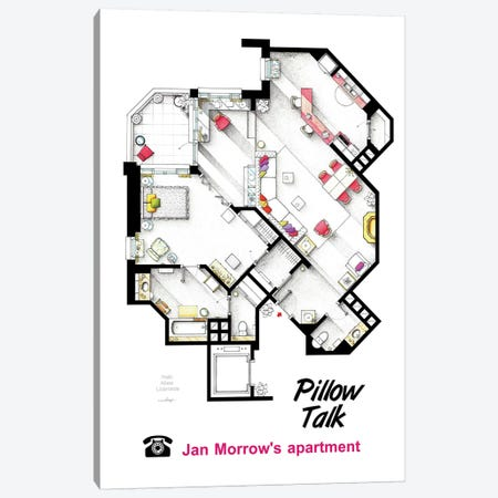 Apartment From Pillow Talk Canvas Print #TVF10} by TV Floorplans & More Art Print