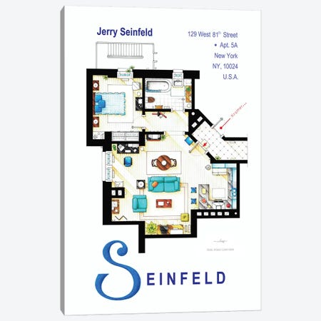Apartment From Seinfeld Canvas Print #TVF11} by TV Floorplans & More Canvas Art Print