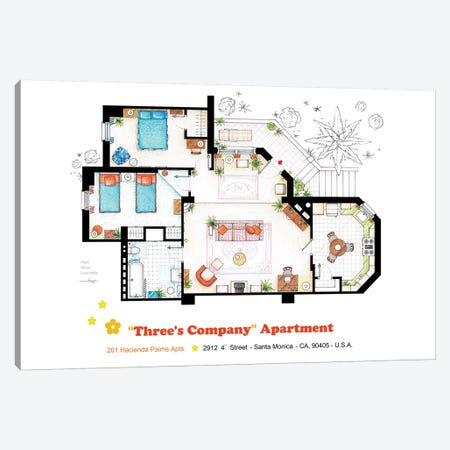 Apartment From Three's Company Canvas Print #TVF13} by TV Floorplans & More Canvas Print