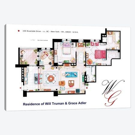 Apartment From Will & Grace Canvas Print #TVF14} by TV Floorplans & More Canvas Art