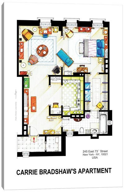 Apartment Of Carrie Bradshaw From Sex & The City Canvas Art Print
