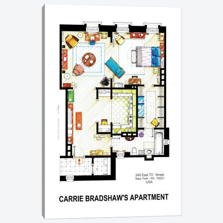 Apartment Of Carrie Bradshaw From Sex & The City Canvas Print #TVF16} by TV Floorplans & More Canvas Art