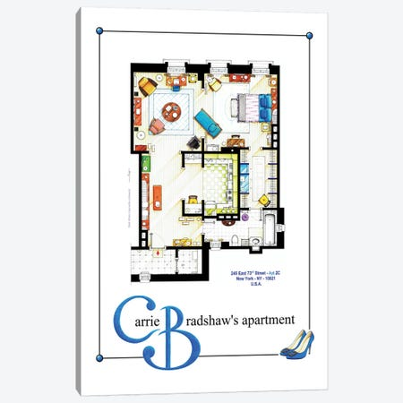 Apartment Of Carrie Bradshaw From Sex & The City - Poster Version Canvas Print #TVF17} by TV Floorplans & More Canvas Artwork