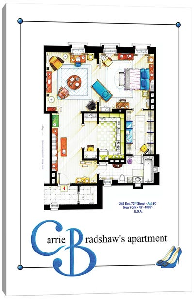 Apartment Of Carrie Bradshaw From Sex & The City - Poster Version Canvas Art Print