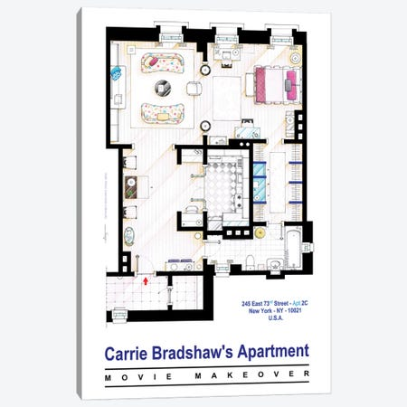 Apartment Of Carrie Bradshaw From Sex & The City Film Canvas Print #TVF18} by TV Floorplans & More Canvas Print