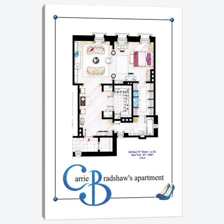 Apartment Of Carrie Bradshaw From Sex & The City Film - Poster Version Canvas Print #TVF19} by TV Floorplans & More Art Print