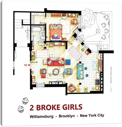 Apartment From 2 Broke Girls Canvas Art Print