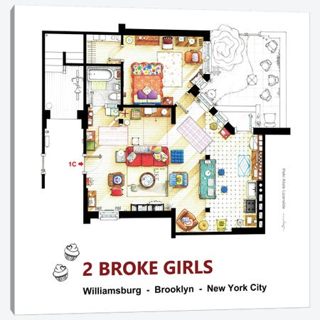 Apartment From 2 Broke Girls Canvas Print #TVF1} by TV Floorplans & More Canvas Print