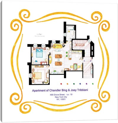 Apartment Of Chandler & Joey From Friends Canvas Art Print
