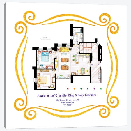 Apartment Of Chandler & Joey From Friends Canvas Print #TVF20} by TV Floorplans & More Canvas Art