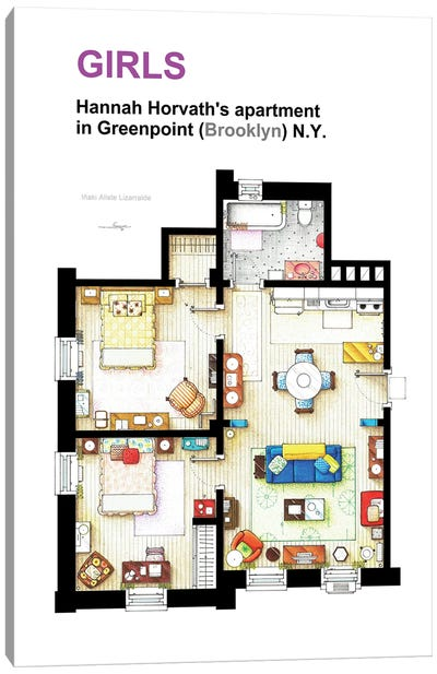 Apartment Of Hannah Horvath From Girls Canvas Art Print