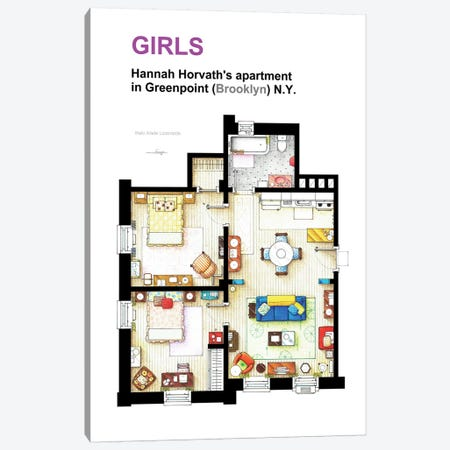 Apartment Of Hannah Horvath From Girls Canvas Print #TVF21} by TV Floorplans & More Canvas Artwork