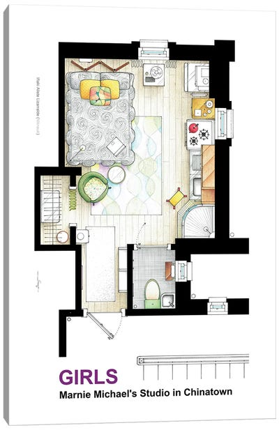 Apartment Of Marnie Michaels From Girls Canvas Art Print