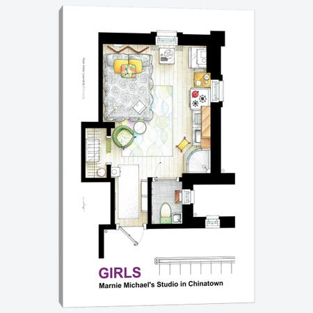 Apartment Of Marnie Michaels From Girls Canvas Print #TVF22} by TV Floorplans & More Canvas Wall Art