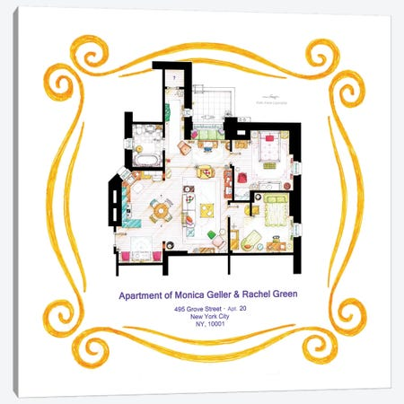 Apartment Of Monica & Rachel From Friends Canvas Print #TVF23} by TV Floorplans & More Canvas Wall Art