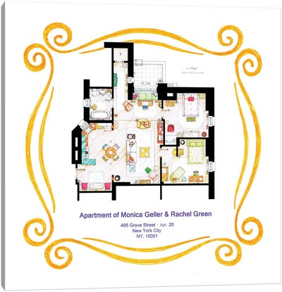 Apartment Of Monica & Rachel From Friends Canvas Art Print