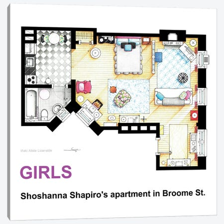 Apartment Of Shoshanna Shapiro From Girls Canvas Print #TVF24} by TV Floorplans & More Art Print