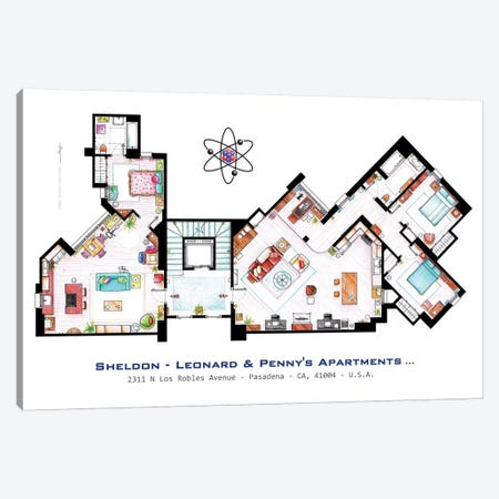 Apartments From The Big Bang Theory Canvas Print #TVF27} by TV Floorplans & More Canvas Art Print