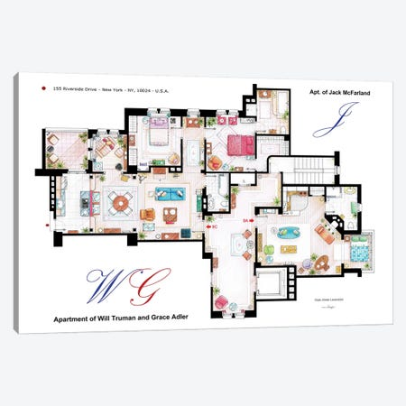 Apartments Of Will & Grace (And Jack) From Will & Grace Canvas Print #TVF28} by TV Floorplans & More Canvas Artwork