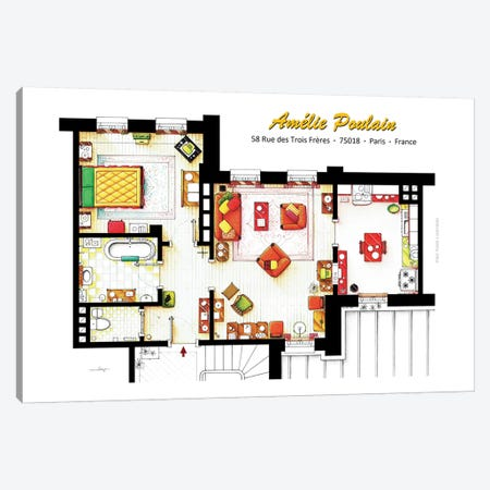 Apartment From Amelie In Paris Canvas Print #TVF2} by TV Floorplans & More Canvas Print