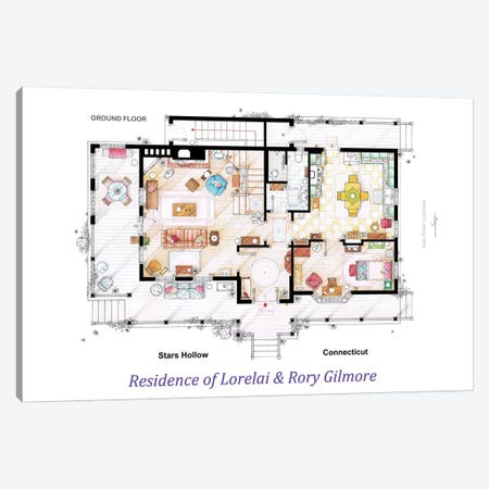 House From Gilmore Girls - Ground Floor Canvas Print #TVF31} by TV Floorplans & More Canvas Art Print