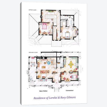 House From Gilmore Girls - Poster Version Canvas Print #TVF32} by TV Floorplans & More Art Print