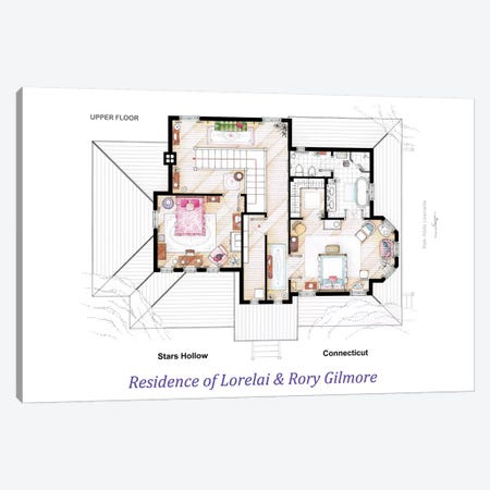 House From Gilmore Girls - Upper Floor Canvas Print #TVF33} by TV Floorplans & More Art Print