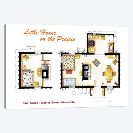 House From Little House On The Prairie Canvas Print #TVF34} by TV Floorplans & More Canvas Wall Art