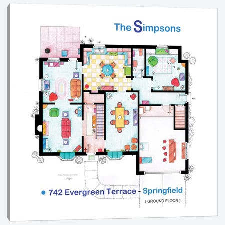 House From The Simpsons - Ground Floor Canvas Print #TVF35} by TV Floorplans & More Canvas Art