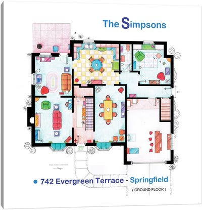 House From The Simpsons - Ground Floor Canvas Art Print