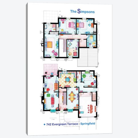 House From The Simpsons - Poster Version Canvas Print #TVF36} by TV Floorplans & More Canvas Wall Art