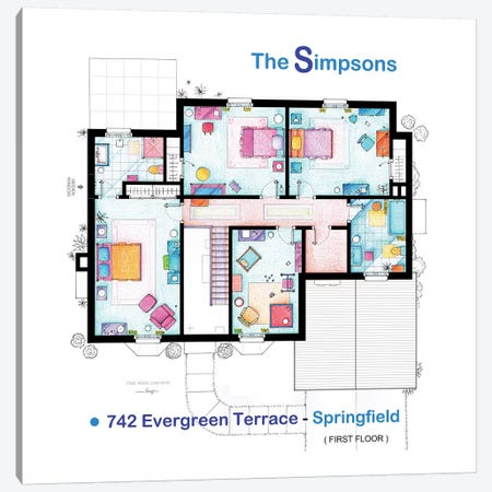 House From The Simpsons - Upper Floor Canvas Print #TVF37} by TV Floorplans & More Canvas Artwork