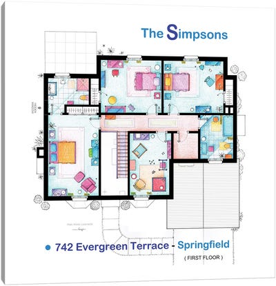 House From The Simpsons - Upper Floor Canvas Art Print