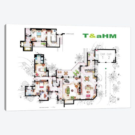 House From Two And A Half Men Canvas Print #TVF38} by TV Floorplans & More Art Print