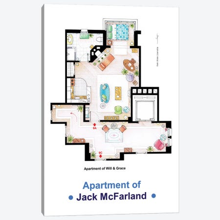 Jack's Apartment From Will & Grace Canvas Print #TVF39} by TV Floorplans & More Canvas Art Print