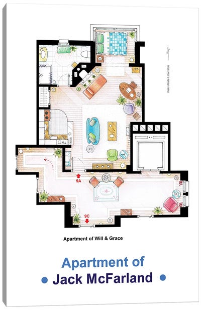 Jack's Apartment From Will & Grace Canvas Art Print