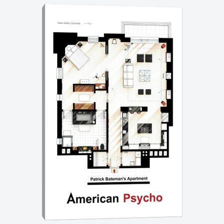 Apartment From American Psycho Canvas Print #TVF3} by TV Floorplans & More Art Print