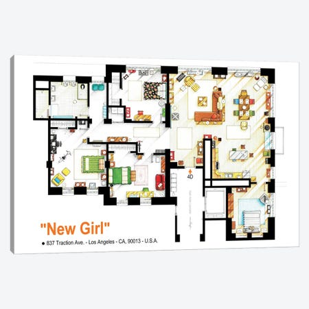 Loft/Apartment From New Girl Canvas Print #TVF40} by TV Floorplans & More Canvas Art