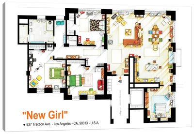 Loft/Apartment From New Girl Canvas Art Print