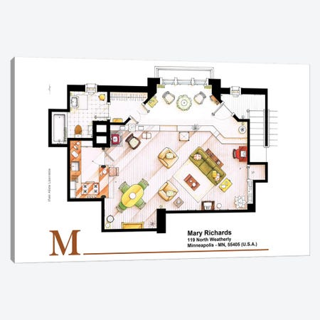 Studio/Apartment From The Mary Tyler Moore Show Canvas Print #TVF41} by TV Floorplans & More Canvas Wall Art