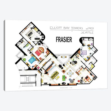 The Apartment From Frasier Canvas Print #TVF42} by TV Floorplans & More Canvas Artwork
