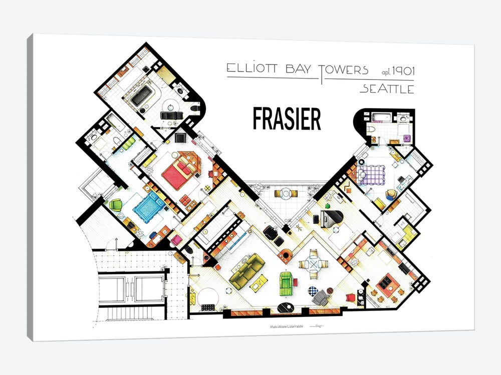 The Apartment From Frasier by TV Floorplans & More 1-piece Canvas Wall Art