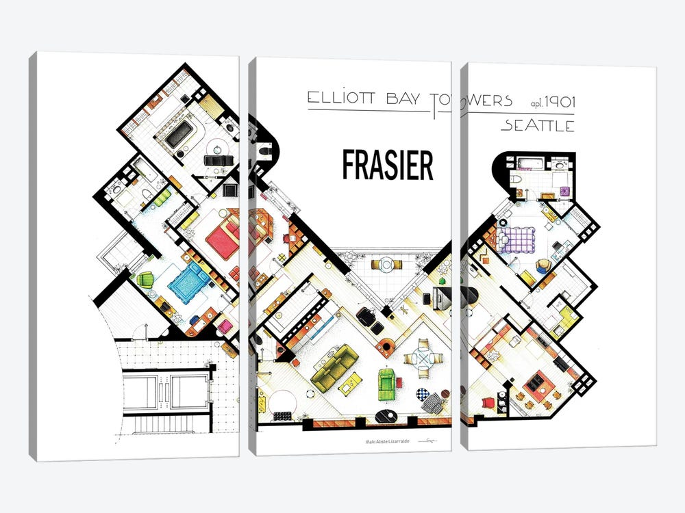The Apartment From Frasier by TV Floorplans & More 3-piece Canvas Wall Art