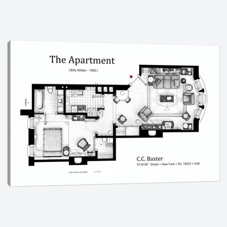 The Apartment From The Apartment Canvas Print #TVF43} by TV Floorplans & More Canvas Artwork