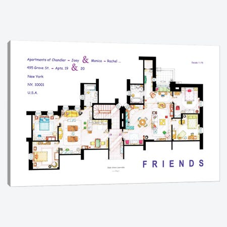 The Apartments From Friends Canvas Print #TVF44} by TV Floorplans & More Canvas Print